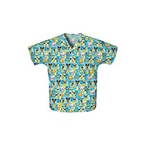 Scrub H.Q. by Cherokee Women's Discount V-Neck 2-Pocket Tunic Style Pet Print Scrub Top X-Small Print