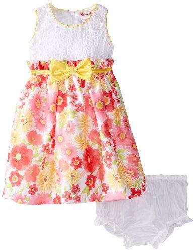 Nannette Baby-Girls Infant 2 Pc Floral Dress Set, White, 12 Months