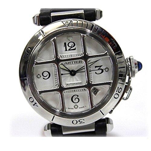 [カルティエ]Cartier パシャ グリッド 38mm メンズ腕時計 裏スケ 自動巻き SS×クロコ革ベルト KK [中古]
