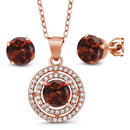 3.64 Ct Round Red Garnet 925 Rose Plated Sterling Silver Pendant Earrings Set