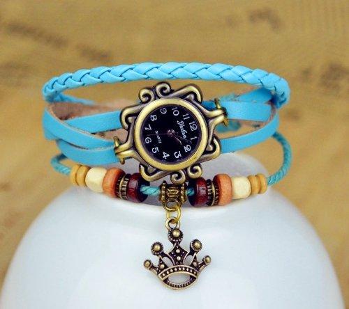 Kano Bak(Tm) Fashion Weave Wrap Around Press Button Leather Retro Bracelet Woman Girl Man Royal King Crown Wrist Gift Watch Sky Blue