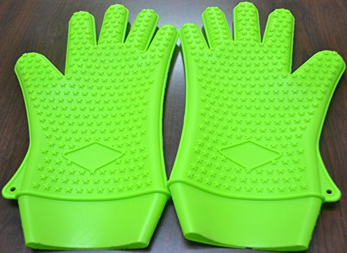 New Multifunction Best Premium 100% Fda Approved Heat Resistant Silicone Gloves (Medium, Green)