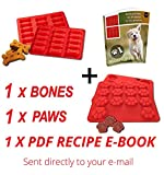 Laminas Dog Paws & Bones Silicone Baking Molds + RECIPE DIGITAL EBOOK, 2 Pack Dogs Paw-Shaped Treats Baked Gelatine, Candy, Chocolate, Ice Treat for Puppy Lovers, Kids, Pets - Food Grade Material