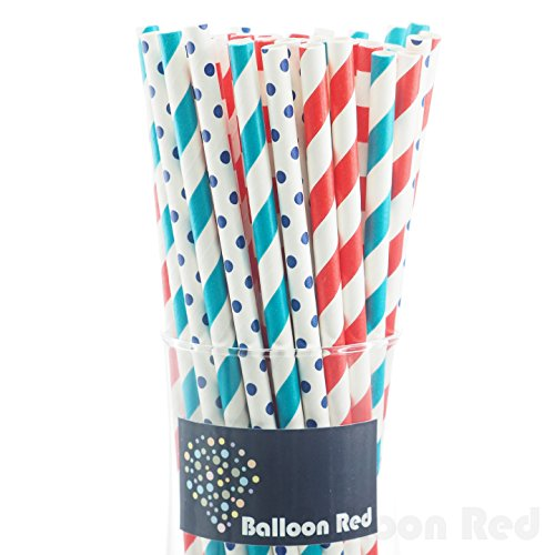 Biodegradable Paper Drinking Straws (Premium Quality), Pack of 100, Combo - Striped & Polka Dot (Hot Air Balloon Paper Plates compare prices)