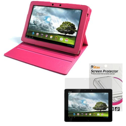 EveCase Hot pink 360° Turn Degree Rotating Folio Leather Cover Case with Built-in Stand + Clear LCD Screen Protector for ASUS Eee Pad Transformer Prime TF300 10.1-Inch Tablet