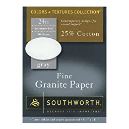 "Southworth Color + Textures Collectionâ""¢ 25% Cotton Granite Paper, 8 1/2in. x 11in., 24 Lb., Gray, Pack Of 80"