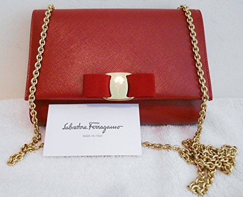 Salvatore Ferragamo Mini Bag - Miss Vara Bow Red Gold