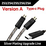 Original KZ USB Type C Cable Digital Decoding Silver Plated OFC Upgrade 0.75mm For KZ Earphones KZ ZST/ZSR/ED16/ES4/ZS10/ZS6 (Version A: For ZS3 ZS5 ZS6 ZSA) (Color: Silver, Tamaño: Version A: For ZS3 ZS5 ZS6 ZSA)