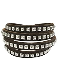 Peora Brown Stud Muffin Leather Cuff Bracelet For Men (PLB896)