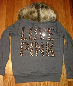 Victoria's Secret LOVE PINK Fashion Show Sequins Bling Fur Lined Leopard Hoodie Jacket S Gray