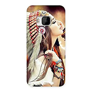 Stylish Native Girl Multicolor Back Case Cover for HTC One M9