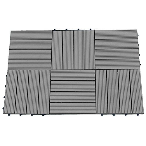 Abba Patio 12 x 12 Inch Outdoor Four Slat Wood-Plastic Composite Interlocking Decking Tile, 6 Pieces One Pack, Dark Grey (Wood Patio Pavers compare prices)