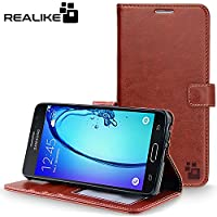 Samsung Galaxy On7/On7 Pro Cover, REALIKE {Imported} Premium Leather Wallet Flip Case For Samsung Galaxy On7/On7...