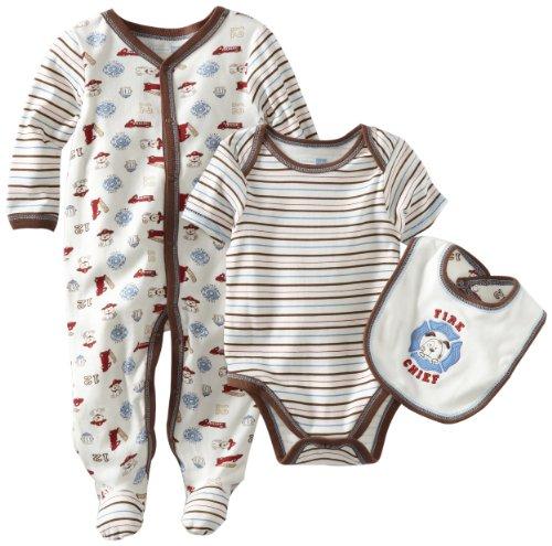 Vitamins Baby-Boys Newborn 3 Piece Footed Coverall Set Fire Chief, Ivory, Newborn