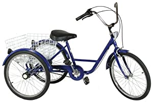 "Adult trike tricycle 24"" wheel Blue coaster brake 3 speed version"