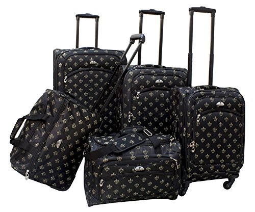 american-flyer-fleur-de-lis-5-piece-spinner-luggage-set-black-one-size