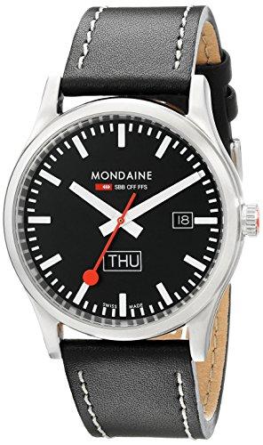 [モンディーン]MONDAINE 腕時計 スポーツライン デイデイト ブラック文字盤 ブラックレザーストラップ A667.30308.19SBB メンズ [正規輸入品]