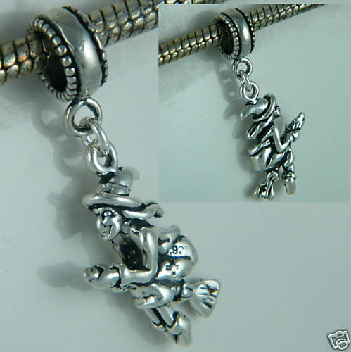Witch on Broom 3D Halloween Sterling Silver Dangle Charm