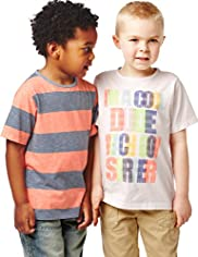 2 Pack Pure Cotton Short Sleeve Slogan T-Shirts