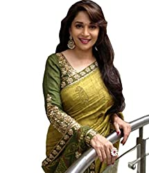 Priyam Creation New Designer Green color Bhagalpuri fancy Party Wear Saree With Blouse Piece.
