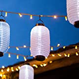 Lampion Chinois LED Solaire Blanc 25cm de Lights4fun