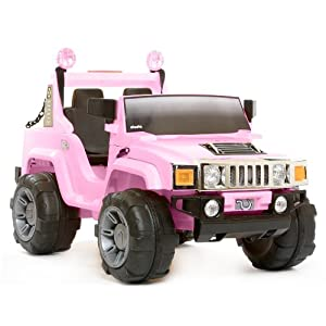 NEW 2012 Rebo 12V Ride On Electric Hummer Car 2 Seater Jeep PINK - Exclusive To Playtimes - FREE Delivery Worth £40 - Save £100 Off RRP £299.95 - Limited Stock - Order Now To Avoid Disappointment