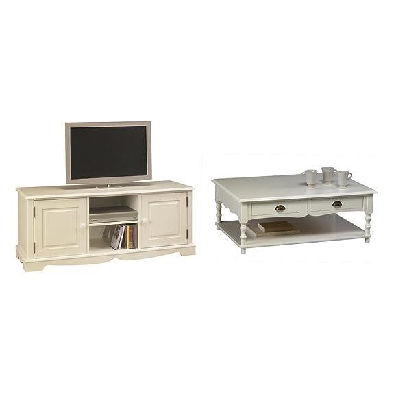 Actual diffusione 40505Windsor scrivania con porta/5cassetti legno bianco 70x 141x 77cm