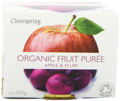 Clearspring Organic Apple and Plum Fruit Puree 2x100g (Pack of 12)