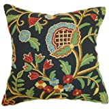 The Pillow Collection Qalanau Crewel Pillow, Black