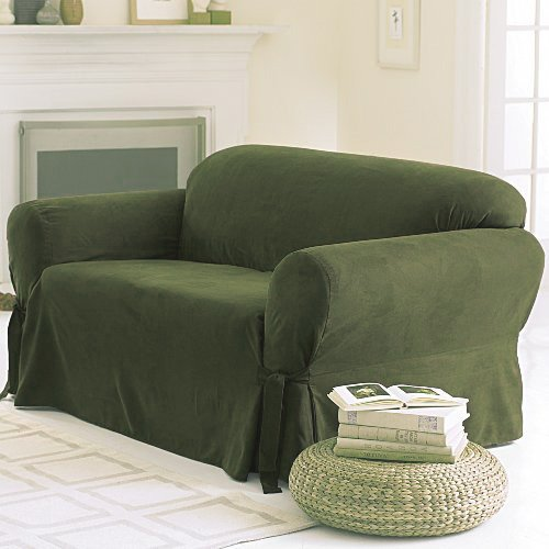 SOLID SUEDE Couch Cover 3 Pc. slipcover Set = Sofa + Loveseat + Chair Covers / Slipcovers 3 Pcs SET - SAGE GREEN color - 100% Polyester