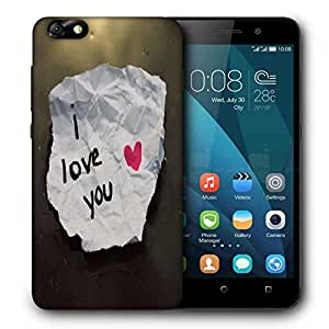 Snoogg I Love You Printed Protective Phone Back Case Cover For Huawei Honor 4X