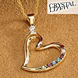 Personalized Mother's Heart Birthstone Pendant Necklace - 18K Gold