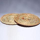 EtechMart アタのコースター 2枚セット カーキ 直径8cm