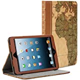 iPad mini Case, iPad Mini 3 Case, GMYLE Book Case Vintage for iPad mini / iPad mini Retina / iPad mini 3 - Brown [World Map Pattern] [PU Leather] Magnetic Book style Flip Slim Fit Case Cover (with card slots and money pocket)
