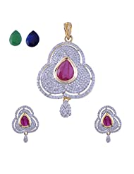 Nimbark Traders Brass And Metal Red/Blue & Green Color Changeable Designer Pendent Set With Earrings For Women... - B00RFRGIXY