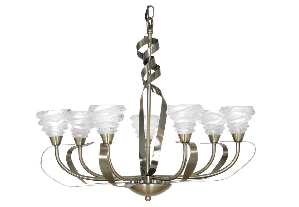 Oaks Lighting Kirba Deckenleuchte 7-flammig mit Lampenschirmen aus Milchglas mit zwei Blumenformen Messing-Antik-Optik