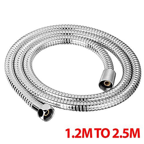 1.2M TO 2.5M CHROME SHOWER BATH HOSE Flexible Stainless Steel Replacement Pipe Fusion(TM) (2.5m)