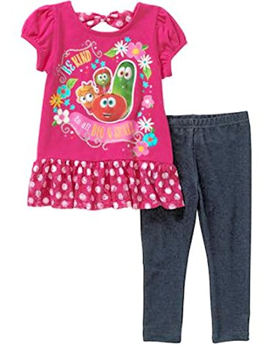 Veggie Tales Be Kind Toddler Girl Tunic and Leggings Outfit Set (3T)