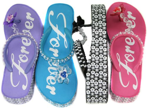 Platform Thongs Flip-flops Beads--5 Colors!