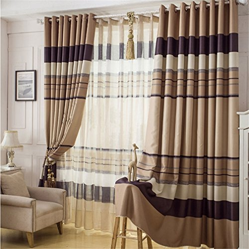 Coffee Kitchen Curtains Amazon Com: FFMODE Stripes Blackout Drapes Curtains, Grommet Top, 100-Inch By 102-Inch, Coffee