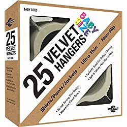 Closet Complete Baby Size Ultra Thin No Slip Velvet Hangers, Ivory, Set of 25