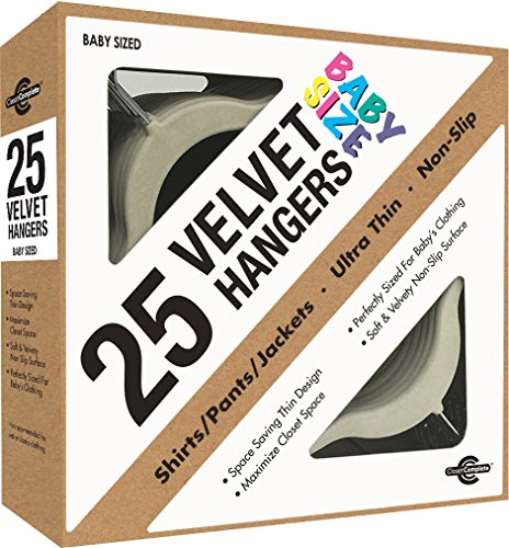 Closet Complete Baby Size Ultra Thin No Slip Velvet Hangers, Ivory, Set of 25