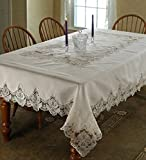 "Imperial Embroidered Vintage Lace Design 70"" X 120"" Oblong / Rectangle Tablecloth in Cream"