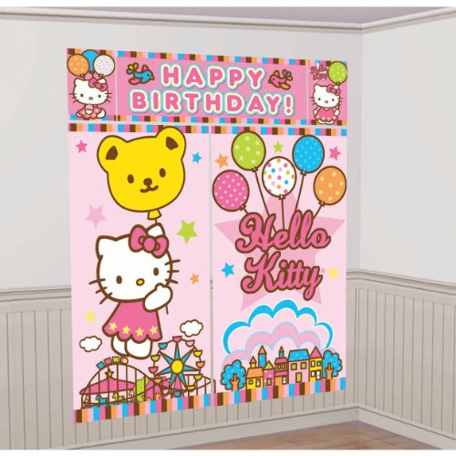 Amscan-Mens-Hello-Kitty-Balloon-Dreams-Scene-Setter-Decoration-Set