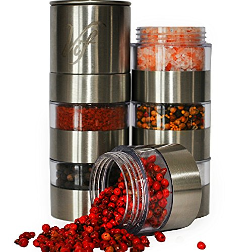 Spice Grinder Stainless Steel - 6 Jar Salt and Pepper Shaker Set - Adjustable Ceramic Grinder for Salt Pepper, Peppercorn, Cloves and More - Clear Acrylic Body- Easy Fill Design (Spices Not Included) (Stainless Pickling compare prices)