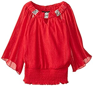 Amy Byer Big Girls' Chiffon Top and Necklace, Red, Medium