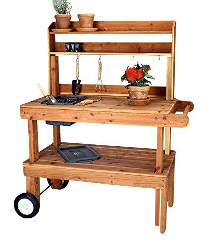 Salish Cedar Western Garden Cart Heavy Duty, Red (Western Red Cedar Potting Bench compare prices)