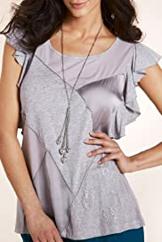 Per Una Satin Patch Jersey Top with Necklace [T62-5200F-S]