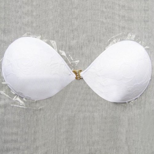 HOTER® Lace Style Invisiable Silicone Bra, Strapless Backless Nu Bra, Size A - White