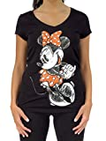 Disney Sketched Minnie Mouse Graphic Juniors Black V-Neck T-Shirt